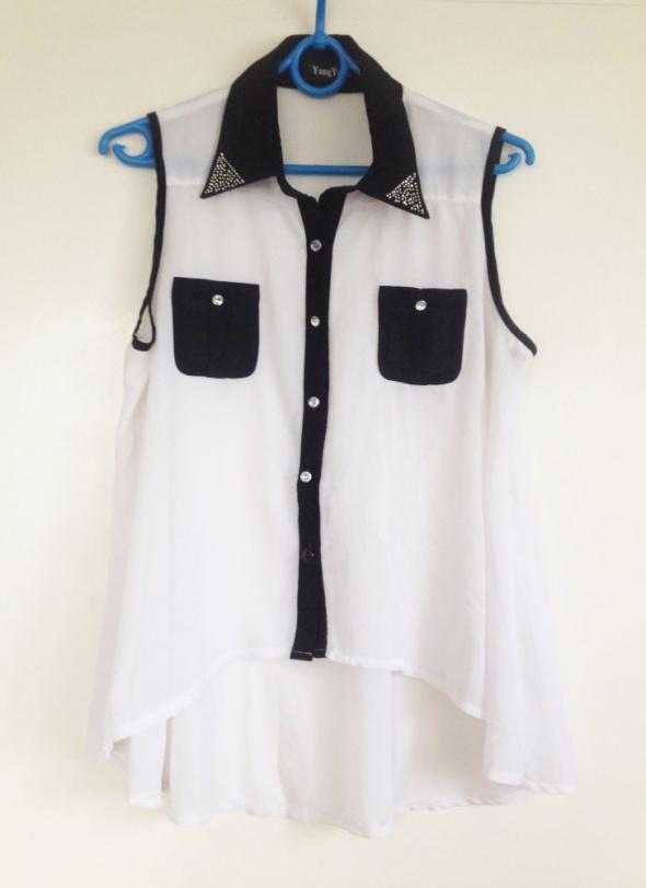 Mgiełka blogerek blogerska biała dżety cyrkonie czarny lamówki czarne koszula rozkloszowana uniwersalna