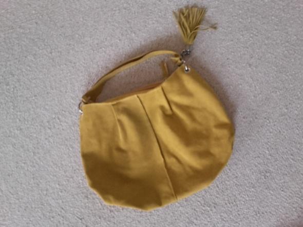 Reserved żółta miodowa torebka worek XL zamsz