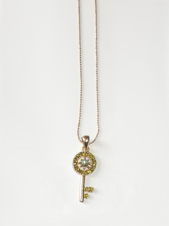 Złoty naszyjnik z zawieszką kluczem kluczyk krótki