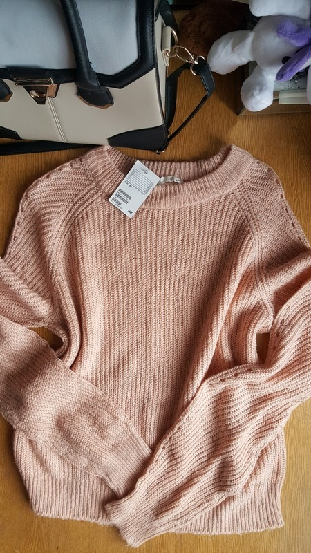 Swetry Nowy z metkami pudrowy sweterek h&m s