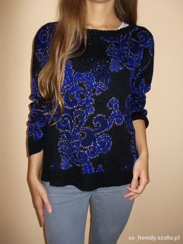 Czarny kobaltowy sweter wzór Atmosphere S sweterek