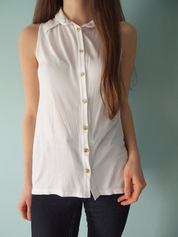 Biała koszula bez rękawów New Look 36 S bluzka top