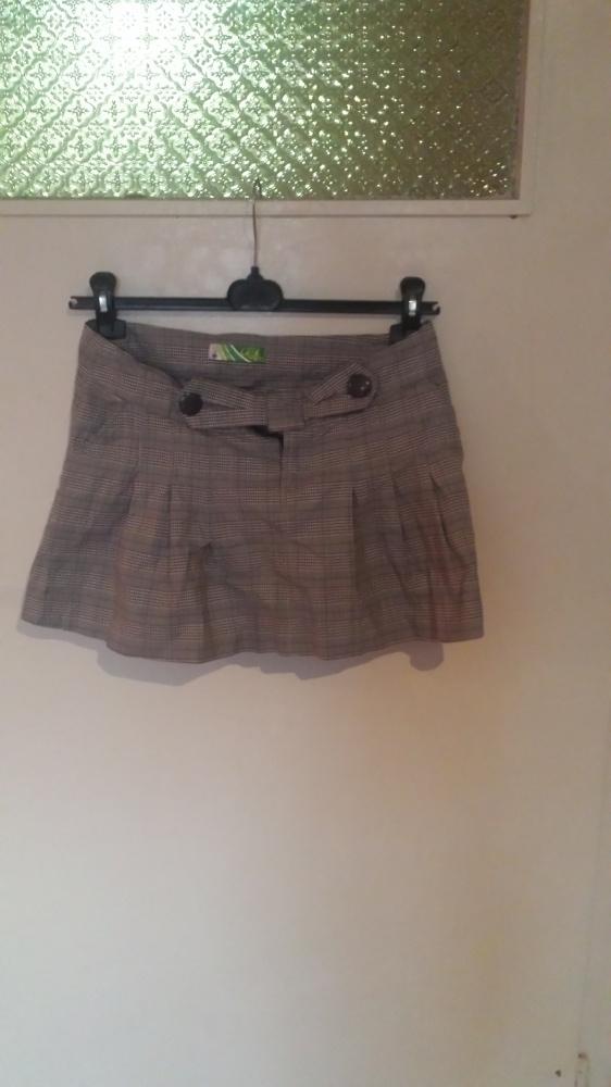 Spódnice Cropp szara mini w kratkę rozkloszowana