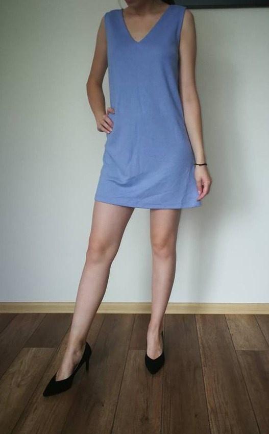 niebieska sukienka tunika ASOS xssm...