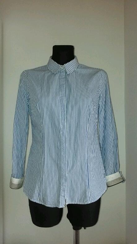 Koszula paski L reserved białe mankiety...