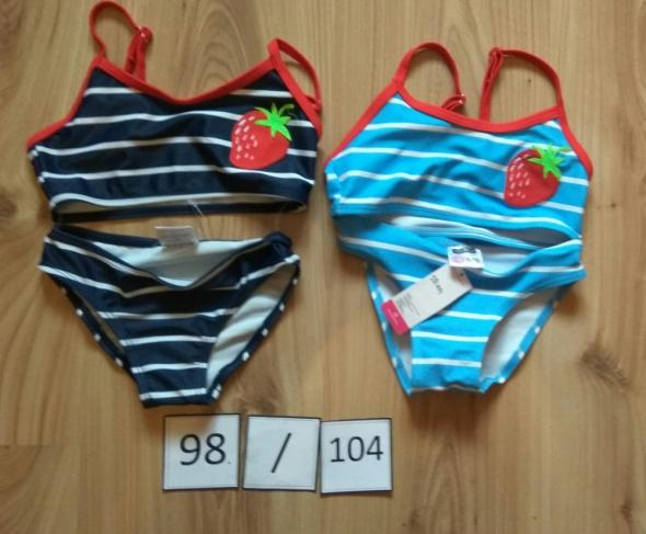 Nowy dziewczęcy dwuczęściow strój kapielowy granatowy niebieski 98 104