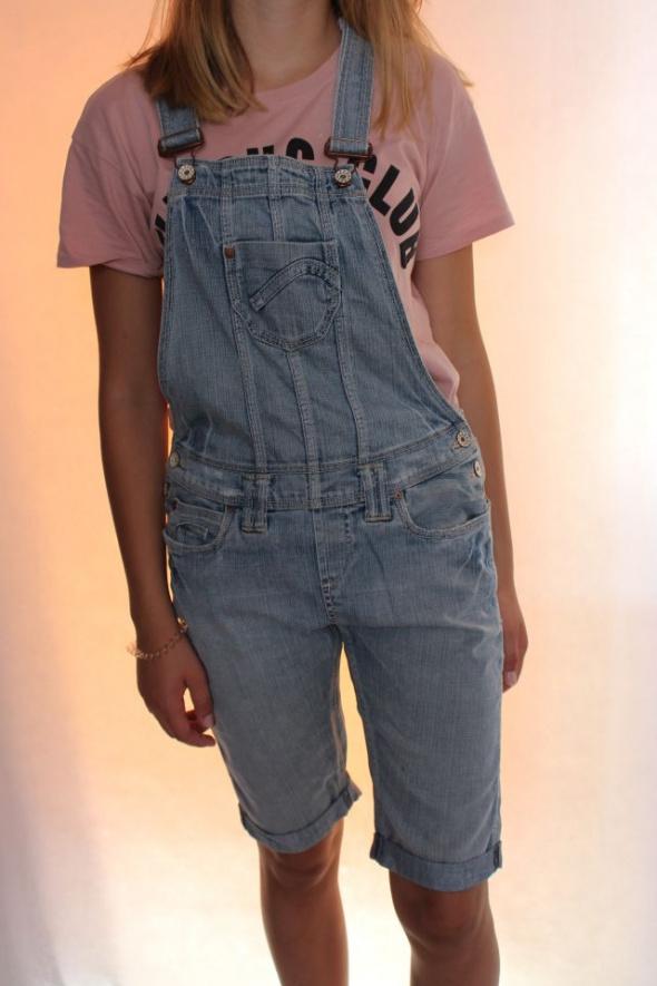 jeansowe spodnie rybaczki ogrodniczki s...