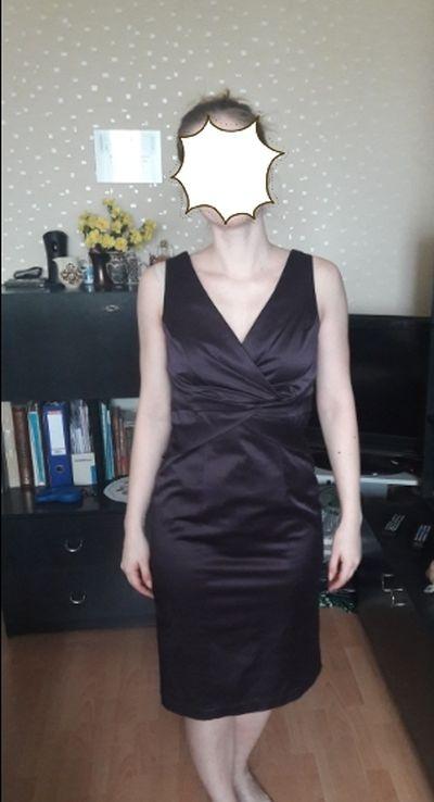 Śliwkowa sukienka koktajlowa rozmiar M L