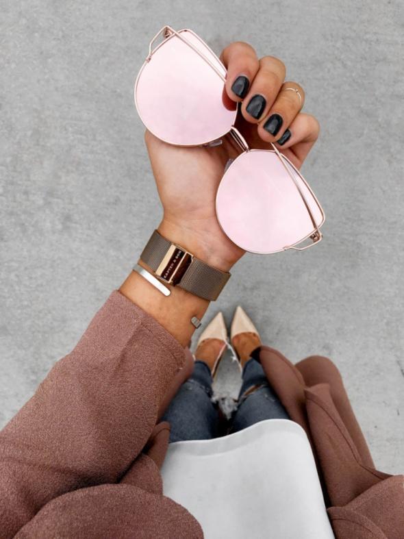 Okulary przeciwsłoneczne lustrzanki różowe złote