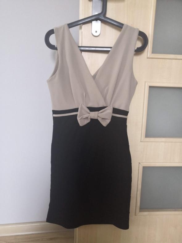 Sukienka koktajlowa beżowo czarna 36 S