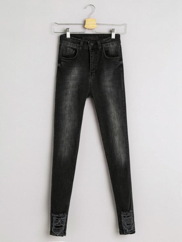 77f1c3e3633a93 Spodnie Jeansy Dżinsy Rurki Super Wysoki Stan Przetarcia Slim Skinny Dziury  Rock Insta 34 XS 149 zł