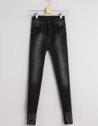 Spodnie Jeansy Dżinsy Rurki Super Wysoki Stan Przetarcia Slim S...