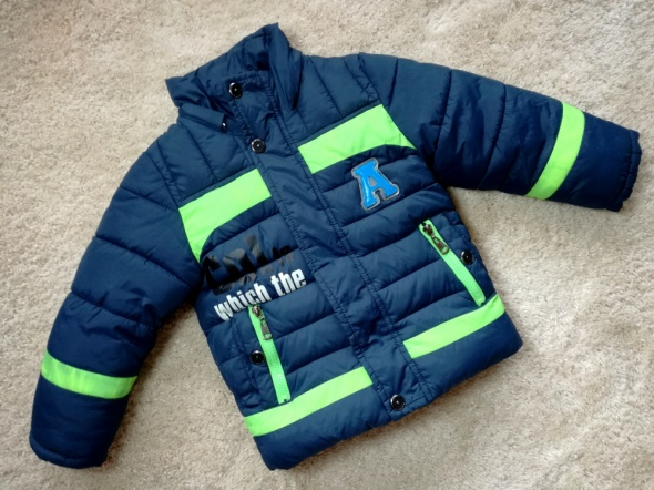 Granatowa gruba ciepła kurtka zimowa dla chłopca Rozm 110