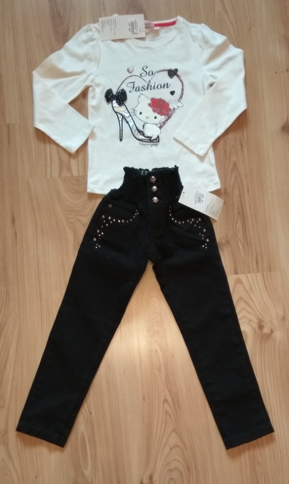 Nowy komplet biała bluzka z kotkiem i czarne spodn