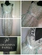 Miętowa koronkowa sukienka midi...