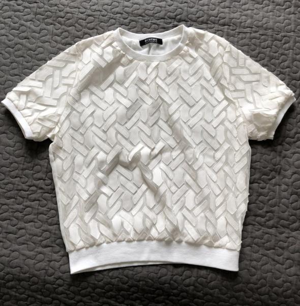 ROMWE bluzka z naszywanymi aplikacjami złamana biel S M stan BDB