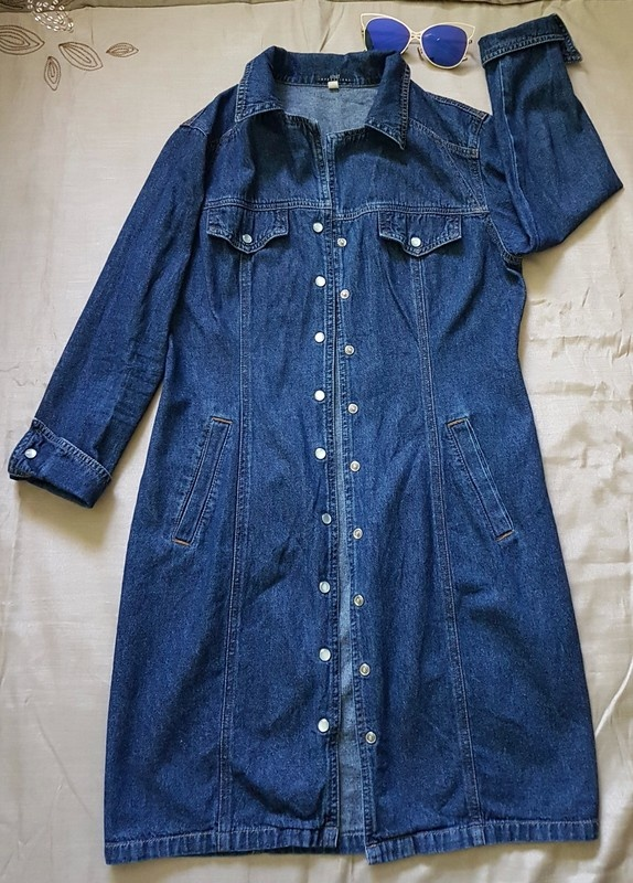 Jeansowy płaszcz trencz Apart Impressions S...