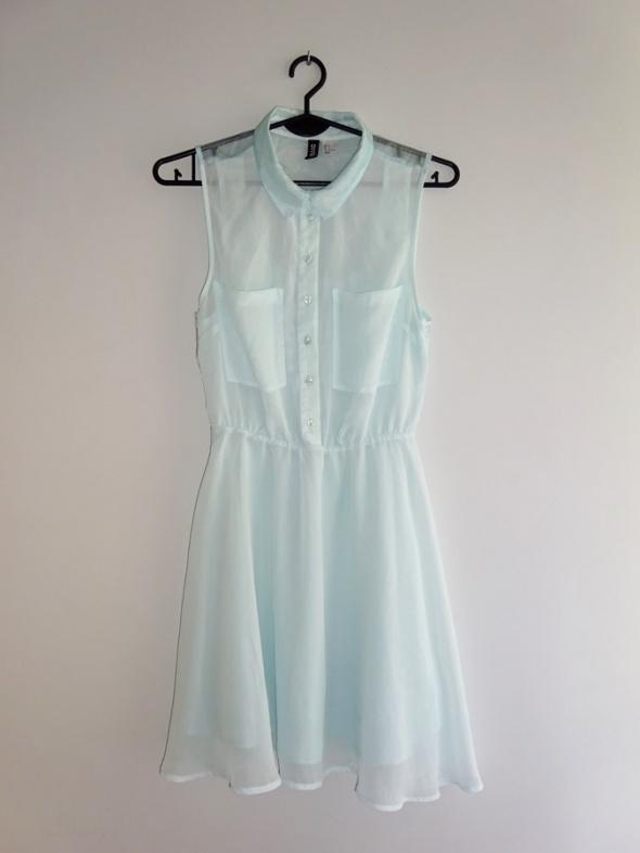 H&M miętowa koktajlowa sukienka rozkloszowana syfon 34 XS...