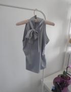 koszula wiązana szara popiel srebrna kokarda...