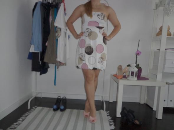 tunika echo sukienka biała bombka koła kółka...