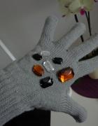 rękawiczki szare kamienie cyrkonie must have