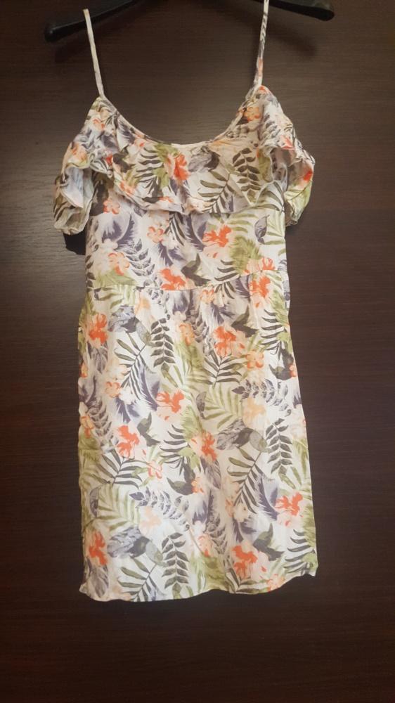 Sukienka na ramiączkach falbanki kwiaty zwiewna lato 34 36