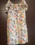 Sukienka na ramiączkach falbanki kwiaty zwiewna lato 34 36...