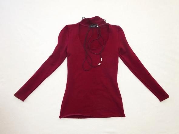 bordowa bluzka z długim rękawem sznureczki 34 XS w Bluzki