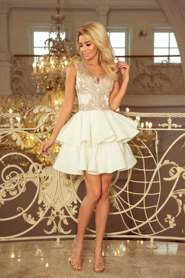Sukienka mini M złota beż wesele