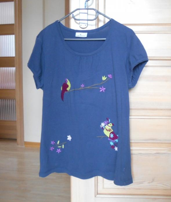 Tom Tailor koszulka ptaki kwiaty hafty granatowa...
