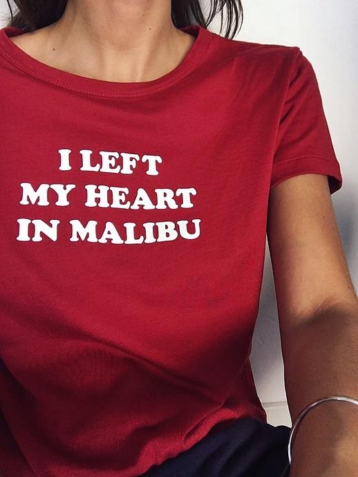Pull and Bear crop top czerwona koszulka napis malibu print...