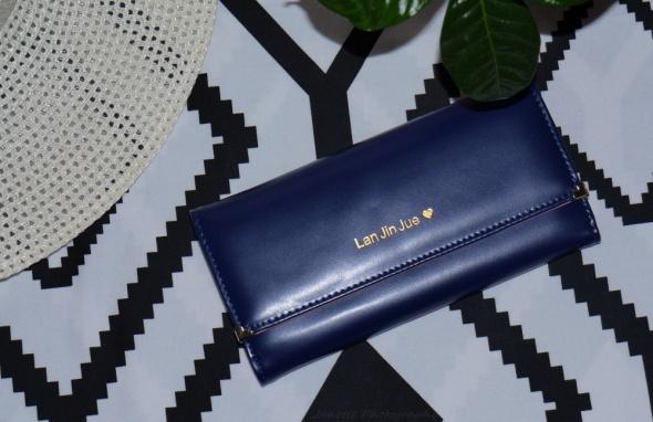 Elegancki długi granatowy portfel
