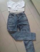 Spodnie marmurki wysoki stan Denin Co xs idealne 34...