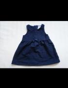 Sukienka 5 10 15 ala jeansowa 74 z kokardą