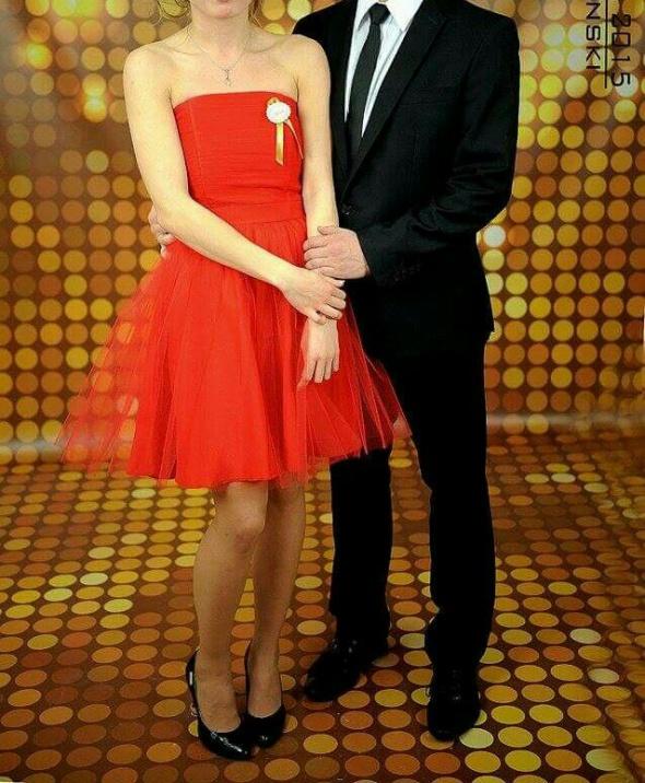 Suknie i sukienki śliczna sukienka tiulowa czerwona impreza Sylwester studniówka