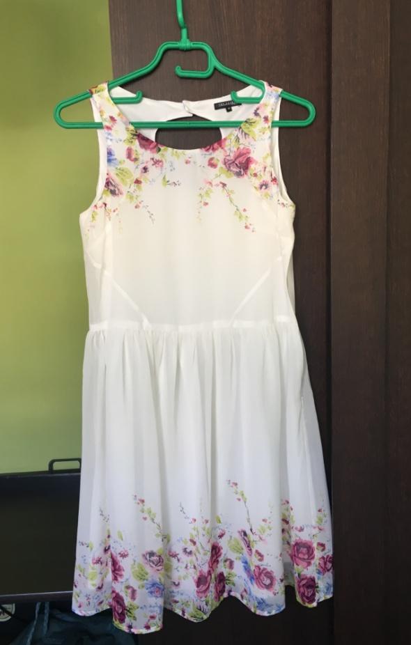 Sukienka biała w kwiaty Top Secret...