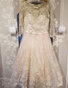 Sukienka Chi Chi London Midi Pudrowy Róż Koronkowa 36...