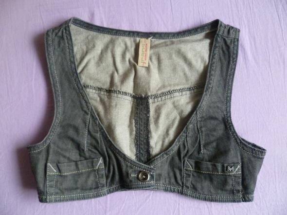 Kamizelki VERO MODA szara jeansowa kamizelka bolerko roz 32