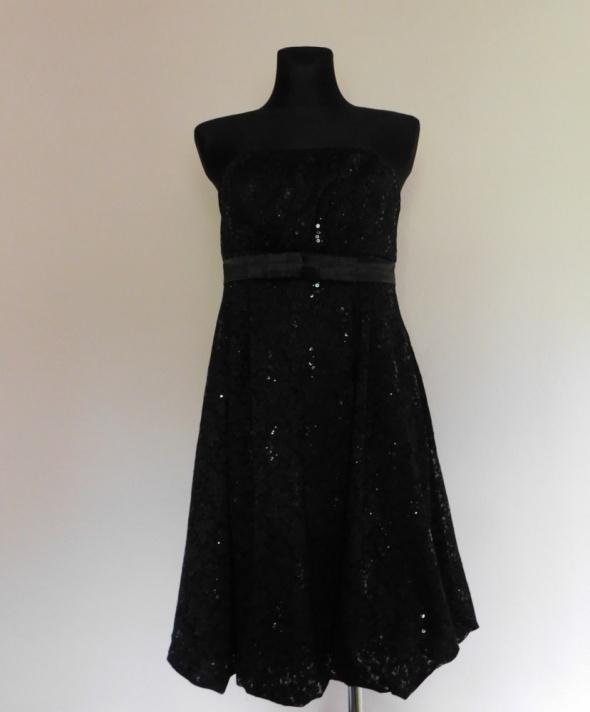 Suknie i sukienki Orsay sukienka czarna koronka midi 40 42