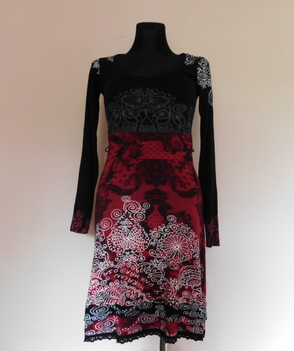 Desigual sukienka midi czarna czerwona 36 38...