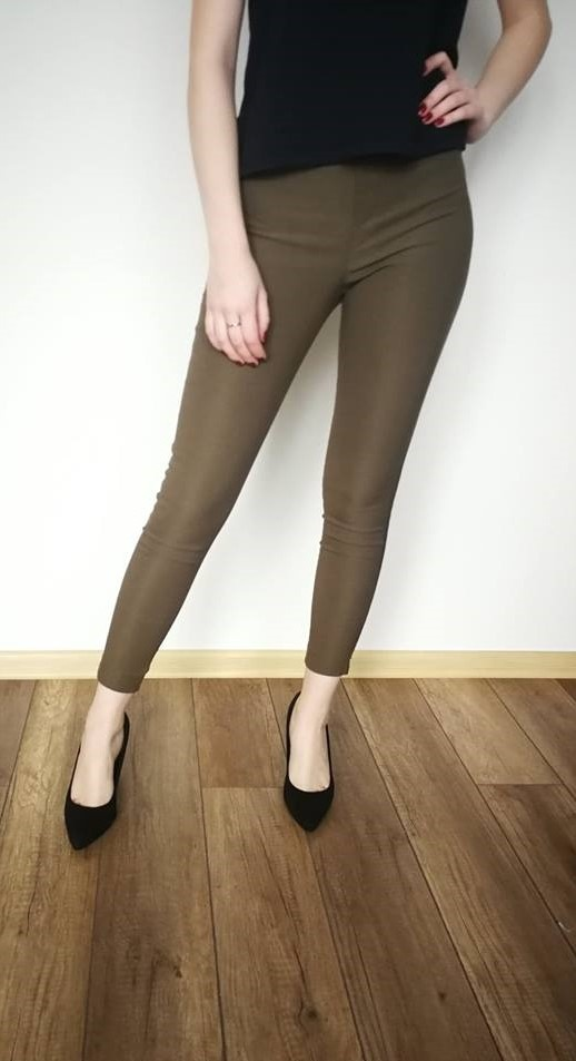 Spodnie oliwkowe połyskujące xs