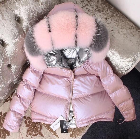 Dwustronna kurtka puchowa różowo srebrna futro lisa S w