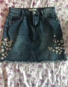 Skydance dżinsowa spódniczka z haftem kwiaty mini krótka z wyso...