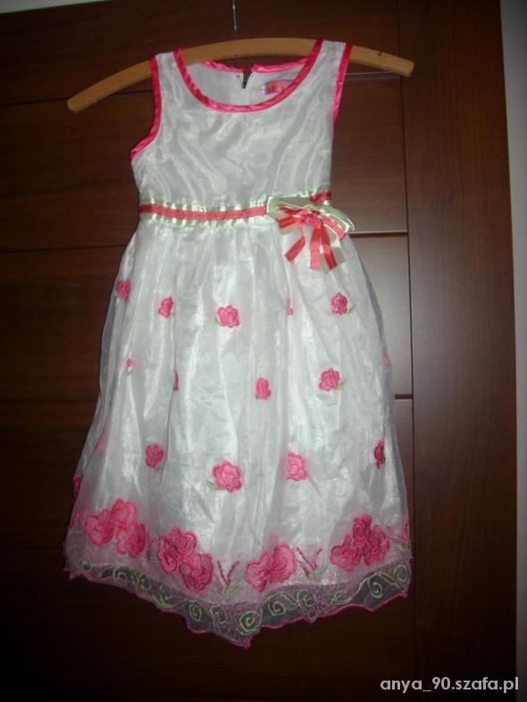 Sukienki i spódniczki ŚLICZNA SUKIENKA TIUL RÓZYCZKI 7