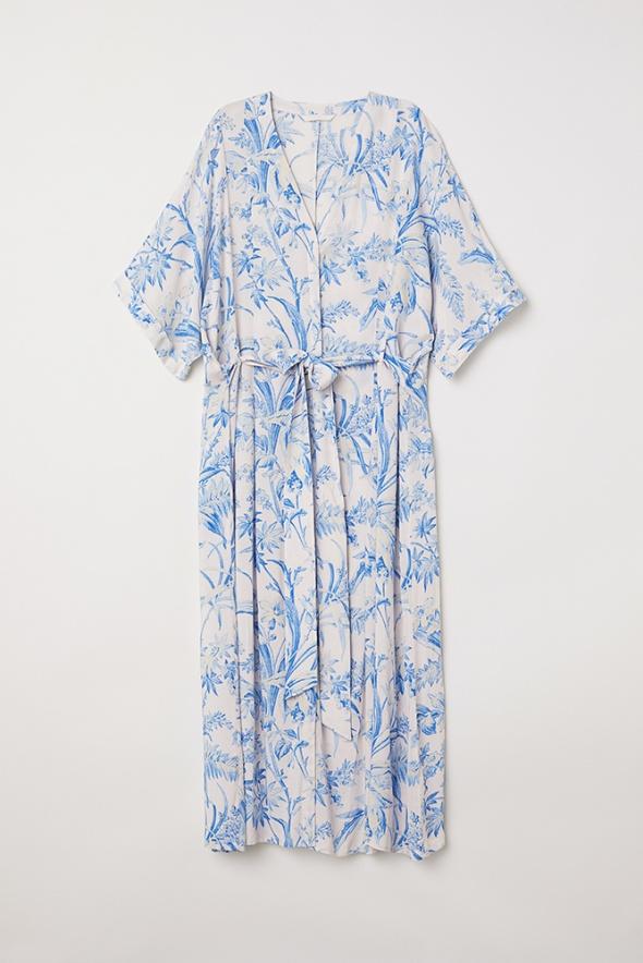 sukienka kimono niebieska wiązana h&m...