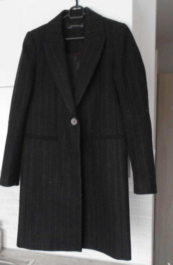 ffeec0bf Zara nowy płaszcz wełniany wełna prążkowany boyfriend grafitowy w ...