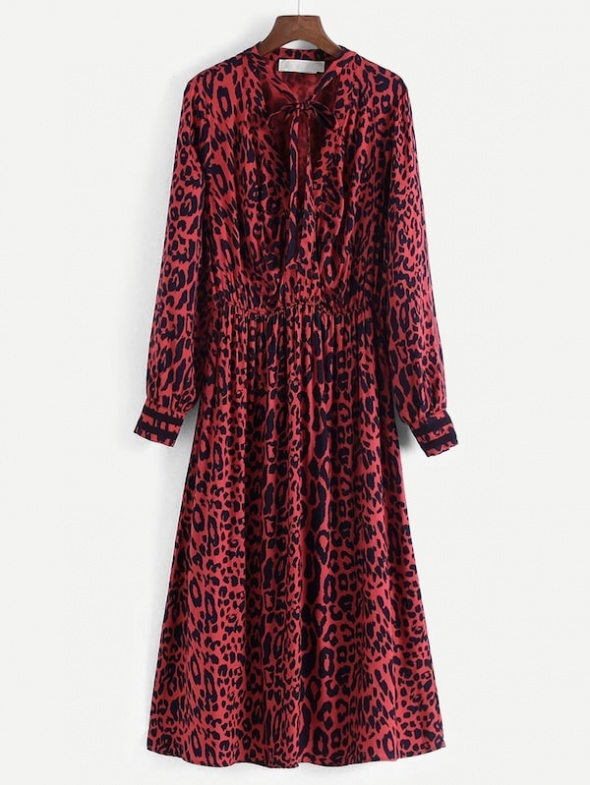 Nowa sukienka midi w czerwoną panterkę SheIn