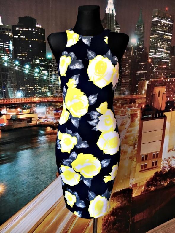 ax paris sukienka ołówkowa midi kwiaty floral wyjściowa hit 34