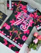 Koszulka Tshirt Sportowy Floral Hawajskie Kwiaty 3D Numer Retro...
