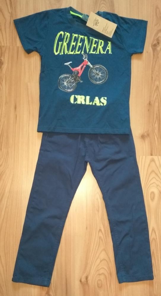 Granatowa chlopięca bluzka z rowerem i granatowe spodnie 110 116
